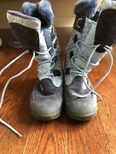 Hanna Andersson Youth Girls Lace Up Dark and Light Blue Winter Boots Size 5