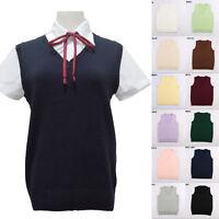 Japanese School Student JK Uniform Vest Sleeveless V-Neck Sailor Knited Sweater