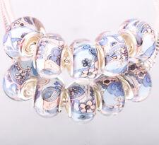 NEW 5pcs SILVER MURANO bead LAMPWORK fit European Charm Bracelet DIY #E02