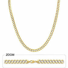 """5.90mm 16"""" 16 gm 14k Solid Two Tone Gold Unisex Cuban White Pave Chain Necklace"""