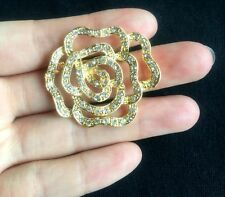GOLD Clear Rhinestone Crystal SAMLL ROSE Flower Brooch PIN Bouquet wedding