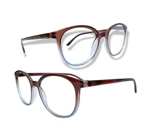 ROUND RIM FRAME BROWN AND GREY FADED EYEGLASSES READING GLASSES