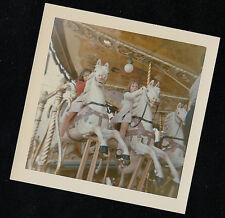Old Vintage Photograph Children Riding on Carousel Pony / Horse Ride