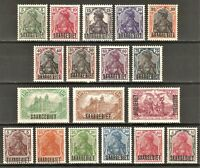 DR SAAR Germany Reich Rare WW1 Stamp 1920 Saar Germania Overprint Classic Set