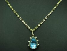 14kt 585 Yellow Gold Chain & Pendant with 0,12ct Diamond & 6,00ct Blue Topaz /