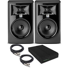 "JBL 305P MkII BUNDLE Powered 5"" Studio Monitor PAIR with Pads + TRS/XLR Cables"