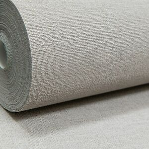 Plain Light Beige Brown Natural Linen Cloth Effect Textured Vinyl  Wallpaper