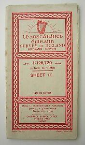 Ordnance Survey Paper Map of Ireland 10 Westport & Clifden 1 Inch to 1 mile 1949