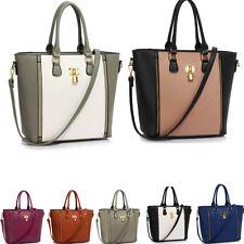 Women's Medium/Large Size Padlock Tote Bag Handbags Designer Faux Leather Bags