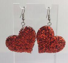 Red Large Heart Glitter Charms Acrylic Earrings F045 Kitsch Fun 5.5cm Long