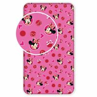 MINNIE MOUSE HEARTS SINGLE FITTED SHEET 100% COTTON BEDDING CHILDRENS