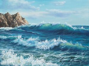 J. Litvinas Original Oil Painting 'OCEAN' 8 by 6 inches