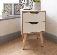 Bedside Cabinet 2 Drawer Oak Bedroom Furniture Solid Wood Legs DESIGNER UK