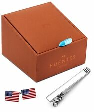 American Flag Cufflinks - Tie Clip Set in Deluxe Gift Box, PC-SET-USA-CL-TC