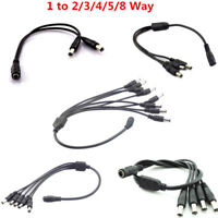 1 Female to 2 3 4 5 8 Male Splitter Plug Cable DC Power for Security camera CCTV