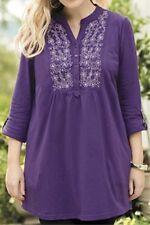 Ulla Popken Royal Amethyst Embroidered Knit Tunic 16 18 1X NEW  :*