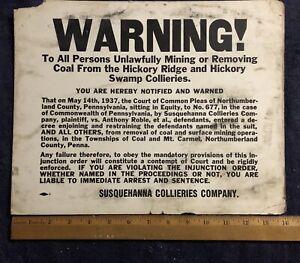 WARNING SIGN - Coal Collieries near Shamokin PA Anthracite Mining Norhumberland