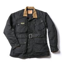 NON STOCK Trialmaster Waxed Jacket Vintage Motorcycle Racing McQueen Coat Black