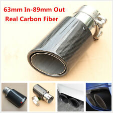 Real Carbon Fiber Car Rear Exhaust Tip Pipe 63mm-89mm Universal Muffler End Tip