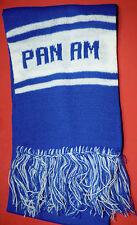 "Vtg Pan Am Airlines Airplane Blue & White Scarf 48"" PAA Pan American Airways"