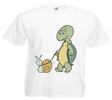 Motiv Fun T-Shirt Schildkröte und Schnecke Cartoon Spass Film Serie
