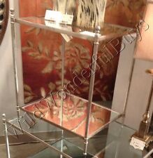 Silver Glass Top Side Table Minimalist Accent End Furniture Mirror Base Tanner