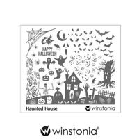 Winstonia Nail Art Stamping Image Plate Disc HAUNTED HOUSE Halloween Spooky Web