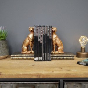 Pair of Golden Leopard Bookends Sat on Faux Vintage Books