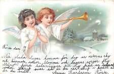 Angel, Cherubs, clarion trumpet Music, Moonlight Snowy Landscape 1903