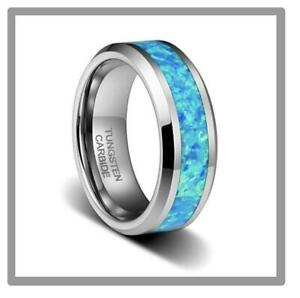 Free Engraving - 8mm Tungsten Carbide Blue Opal Inlay Wedding Band Ring
