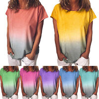 Plus Size Women Tie Dye Short Sleeve T-Shirts Loose Summer Casual Blouse Tee Top