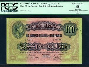 East Africa:P-31b,100 Shillings,1949 * King George VI * PCGS EF 40 * RARE ! *