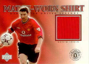 2002 UD Manchester United Legend Trading Card Jersey Card Dennis Irwin