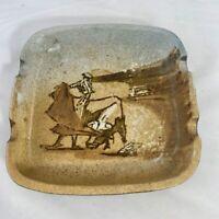 Mid Century NALDA Pottery Bullfighter Ashtray Trinket Dish Spain Marked