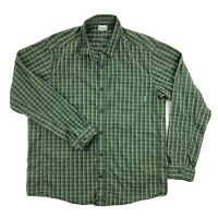 Columbia Global Adventure Mens Large Green Plaid Long Sleeve Button Up Shirt