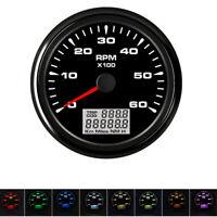 Schwarz 85mm Boot Drehzahlmesser 6000 RPM 8-Farbe LED mit Digital Stundenzähler