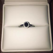 9ct White Gold Sapphire and Diamond Oval Engagement Ring