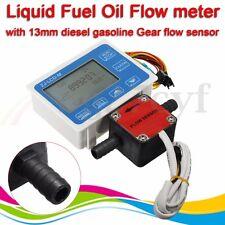 Liquid Fuel Oil Flow LCD Meter + 13mm Diesel Gasoline Gear Flow Sensor & Valve