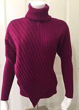 Lafayette 148 Fine Wool Flap Front Raspberry Rib Knit Cowl Neck Sweater Medium