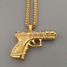 "18k Gold 2pac Iced Out Gun Pendant Tupac Necklace 30"" Link Chain Hip Hop"