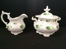 ANTIQUE DAVENPORT CHINA GRAPE LEAF IVY SCALLOPED Creamer & Sugar bowl marked