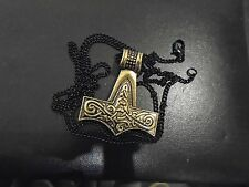 """Asgard Thor's Martillo Vikingo Skane Mjolnir Latón Cadena De Bronce Colgante 27"""" Negro"""