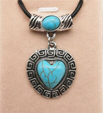 Fashion Jewelry Antique Silver Turquoise Pendant  Rhinestone Necklace Gift L09