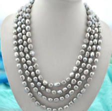 Extra long 7-8mm baroque gray freshwater pearl necklace 100''