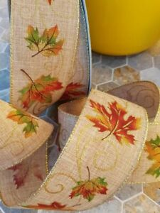 10m autumn leaves 6.5cm width ribbon party decoration crafts Gift Wrapping