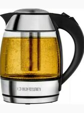 CHEFMAN, CORDLESS GLASS ELECTRIC KETTLE, 1.8 CAPACITY KETLE WITH 360 DEGREE BASE
