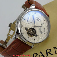 43mm PARNIS white dial power reserve indicator ST2505 automatic mens gift watch