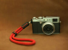 Red soft climbing rope 8mm handmade camera wrist strap black leather