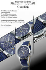GUARDIAN COMPLETE CALENDAR WATCH M. REAL MOON PHASE AZURE BLUE FACE GUILLOCHED
