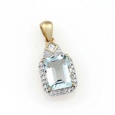 9ct Yellow Gold & Rhodium Plated Aquamarine & Diamond Pendant.